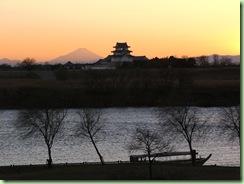 富士山と関宿城と高瀬舟
