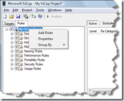 Microsoft FxCop Rules Interface